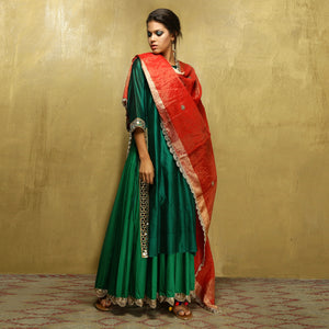 Parvati Maxi + Dupatta - Bottle Green