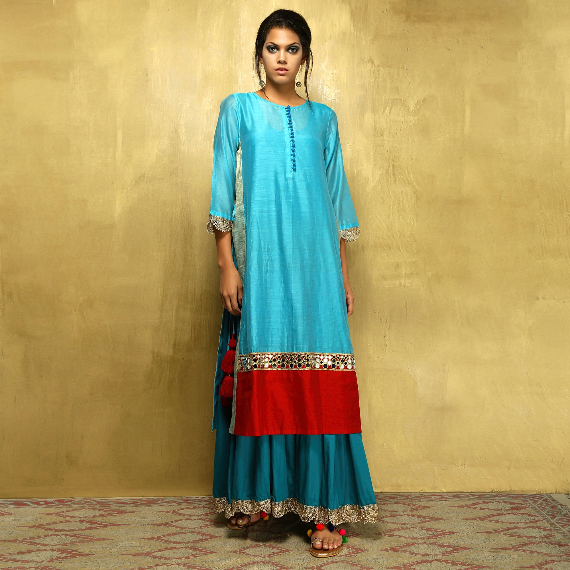 Parvati Maxi - Turquoise Blue and Red