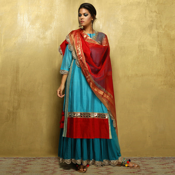 Parvati Maxi + Dupatta - Turquoise Blue and Red