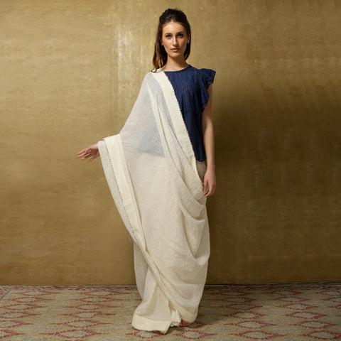 Lightweight handloom zari striped sari from O Layla's Samsara collection