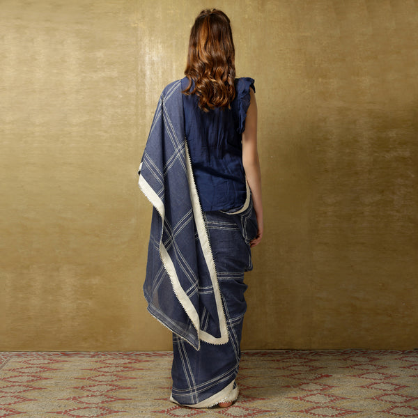 Lightweight denim checks handloom sari from O Layla's Samsara collection