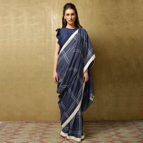 Revti sari - Stone Blue checks