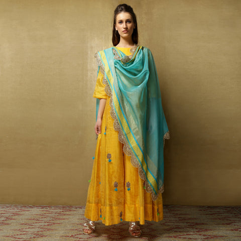 Stuti Anarkali - Haldi Yellow with Teal Blue dupatta
