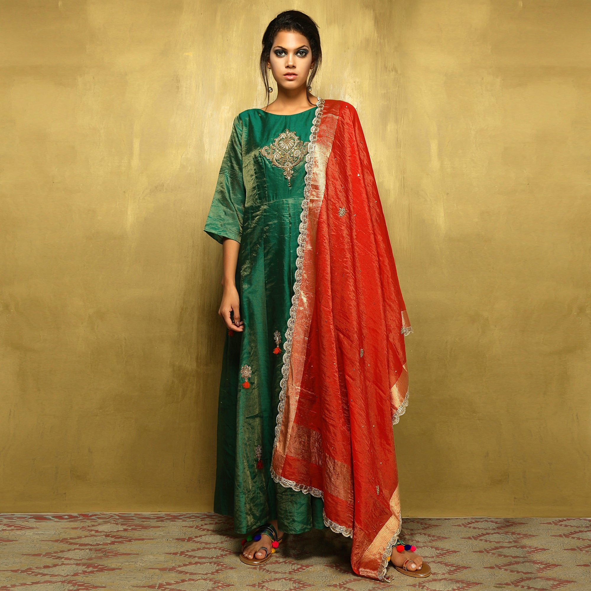 Stuti Anarkali - Bottle Green Tissue with Red Dupatta