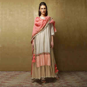 Parvati Maxi + Dupatta- Ivory, Salmon Pink and Sand