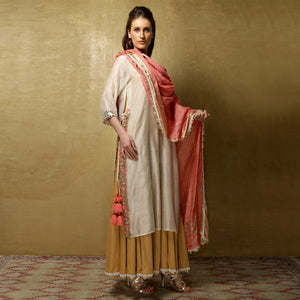 Parvati Maxi + Dupatta - Ivory, Salmon Pink and Gold
