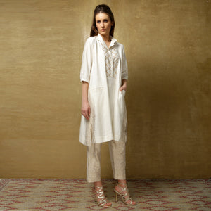 Yuri tunic with Simi pants - Ivory and Gold - O Layla