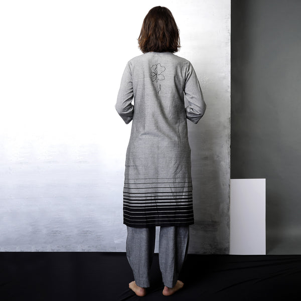 Contemporary Sustainable Fashion from Indian designer wear label O Layla. Mizuki basket weave tunic set. Handloom textiles.