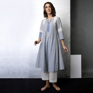 Contemporary Sustainable Fashion from Indian designer wear label O Layla. Runa striped tunic set. Handloom textiles.