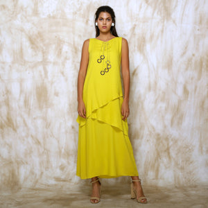 Anahita Layered Dress - Neon Lime Yellow