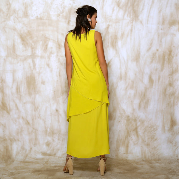 Anahita Layered Dress - Neon Lime Yellow - O Layla
