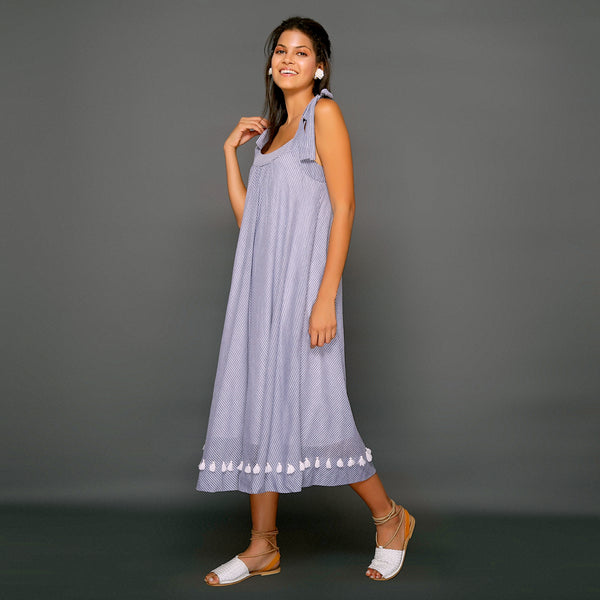Athena Tie Strap Dress - Blue White Stripe