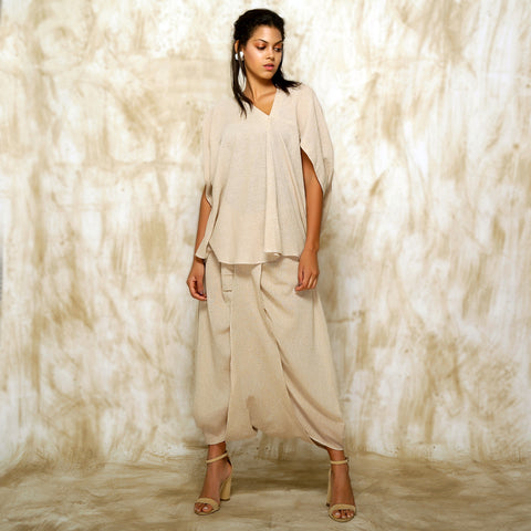 Geisha Asymmetrical Top with Ima Dhoti Skirt - Sand color
