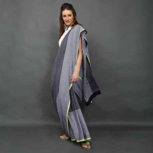 Lightweight handloom denim striped sari from O Layla's Samsara collection