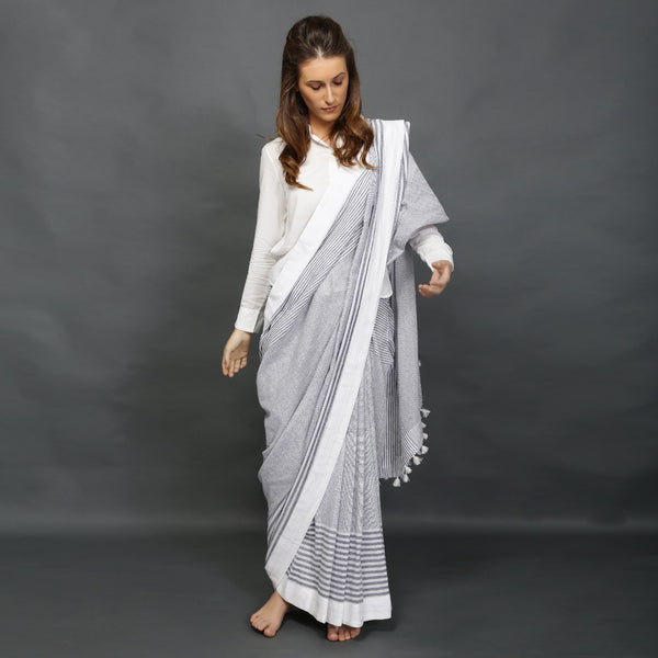 Handloom striped sari from O Layla's Samsara collection