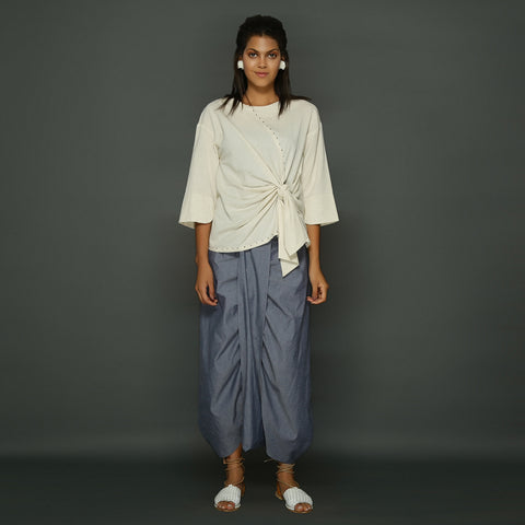 Shiro Knot Top (Off White) with Ima Dhoti Skirt (Blue)