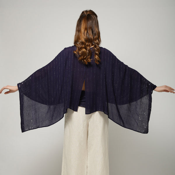 Shynah Cape Top - Navy Blue Sequin