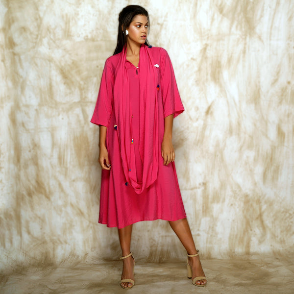 Tami Scarf Dress - Hot Pink - O Layla