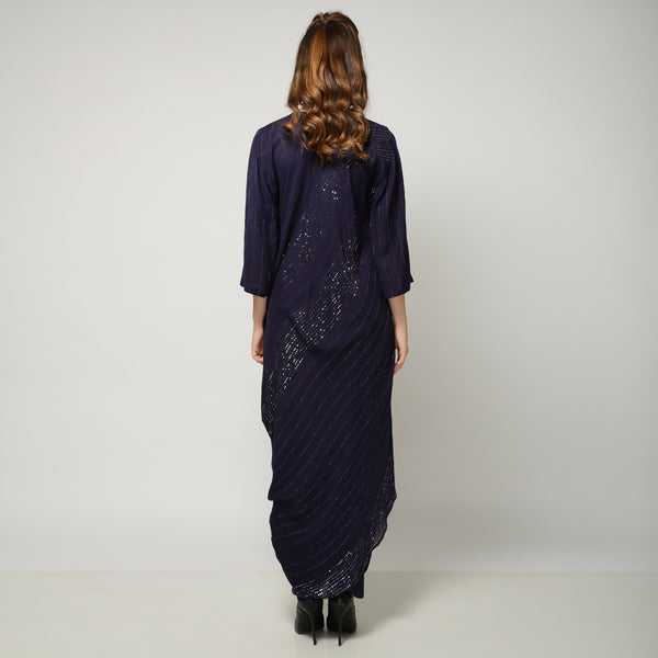 Tashi Sequin Dress with Niko pants - Navy Blue
