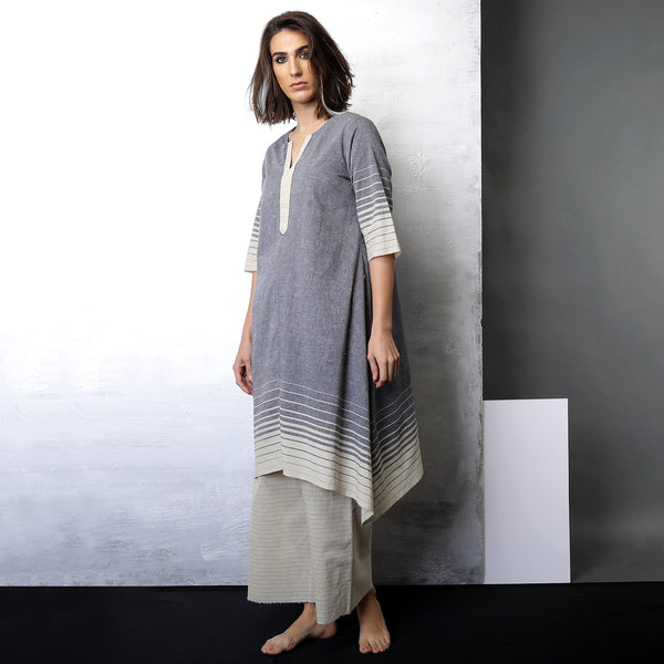 Contemporary Sustainable Fashion from Indian designer wear label O Layla. Sayumi asymmetrical tunic set. Handloom textiles.