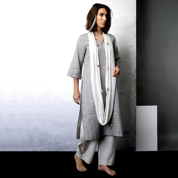 Contemporary Sustainable Fashion from Indian designer wear label O Layla. Tami scarf tunic set with pleated pants. Handloom textiles.