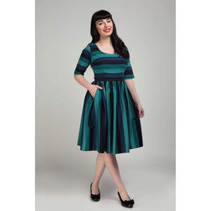 Amber-Lea Twilight Stripe Swing Dress - Rockamilly-Dresses-Vintage