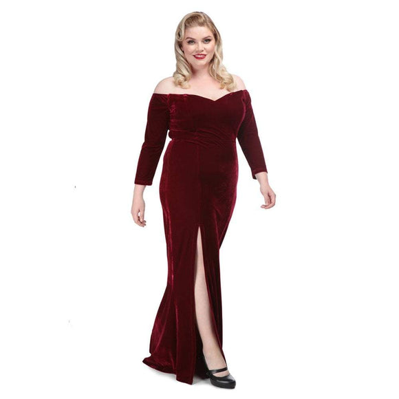 Anjelica Velvet Maxi Dress Wine Collectif - Rockamilly-Dresses-Vintage