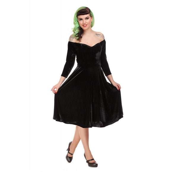Anjelica Velvet Swing Dress Collectif - Rockamilly-Dresses-Vintage