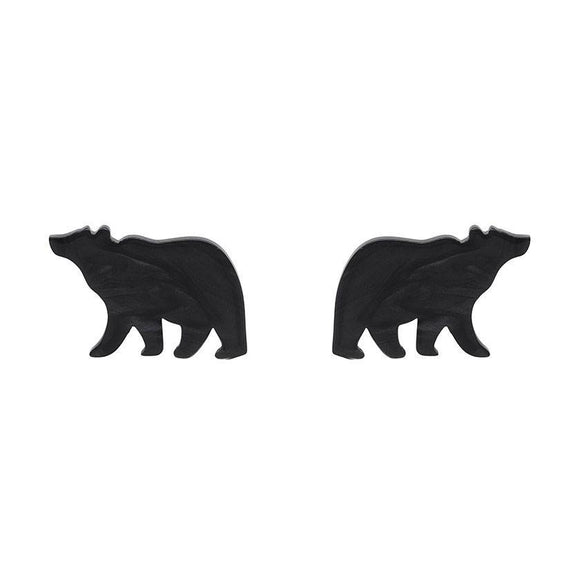 Bear Textured Resin Stud Black Earrings Erstwilder - Rockamilly-Jewellery-Vintage