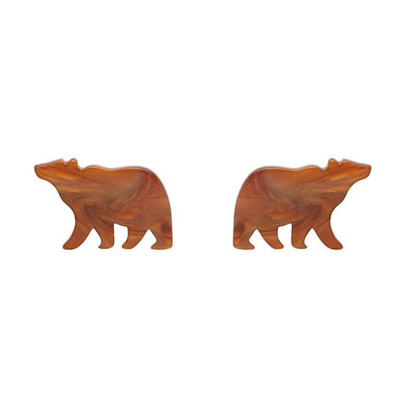 Bear Textured Resin Stud Brown Earrings Erstwilder - Rockamilly-Jewellery-Vintage