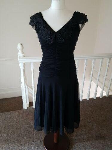 Black chiffon Rouche Dress - Rockamilly-Dresses-Vintage
