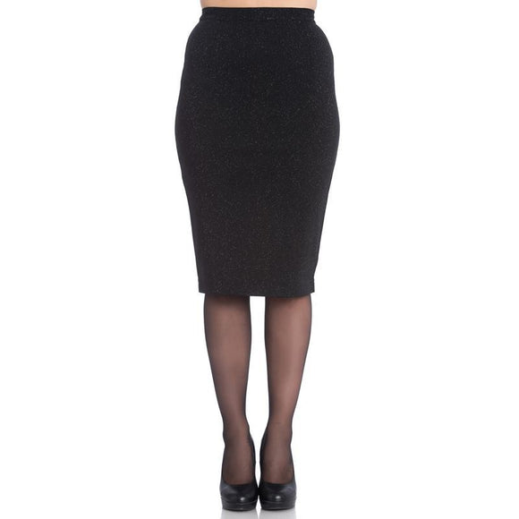 Black Glittery Nebula Pencil Skirt - Rockamilly-Skirts & Shorts-Vintage