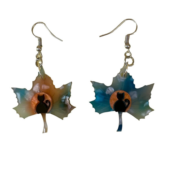 Black Kitty Leaf Earrings - Rockamilly-Jewellery-Vintage