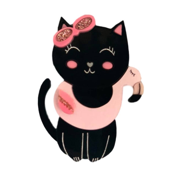 Black Kitty Pink Flamingo Brooch - Rockamilly-Jewellery-Vintage