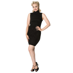 Black Knitted Jumper Dress - Rockamilly-Dresses-Vintage