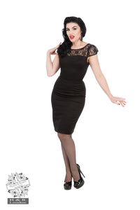 Black Lace Wiggle Evening Dress - Rockamilly-Dresses-Vintage