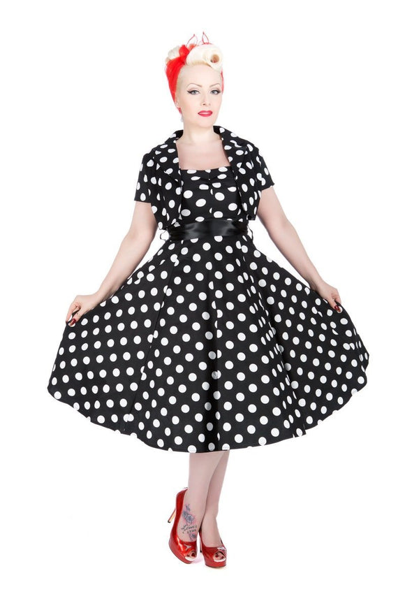 Black Polka 50s Dress with Bolero - Rockamilly-Dresses-Vintage