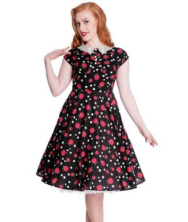 Black& Red Apple & Daisy Vintage Inspired Tea - Rockamilly-Dresses-Vintage