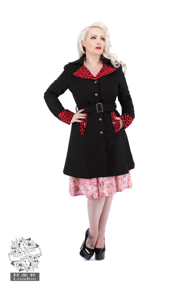 Black & Red Trim Coat - Rockamilly-Jackets and Coats-Vintage