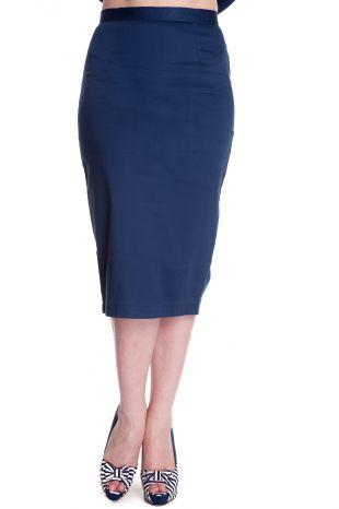 Blue Frankie Pencil Skirt - Rockamilly-Skirts & Shorts-Vintage