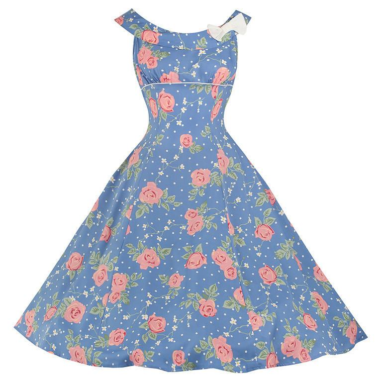 Blue with Pink Roses, Daisies & Polka Dot Dress - Rockamilly-Dresses-Vintage