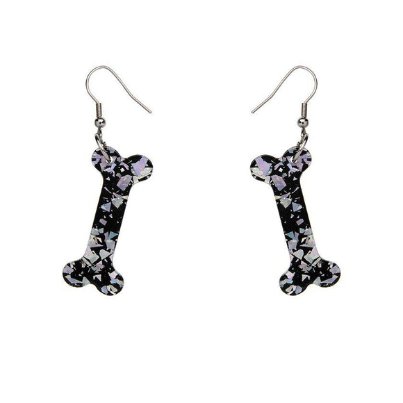 Bones Chunky Glitter Resin Drop Earrings - Silver - Rockamilly-Jewellery-Vintage