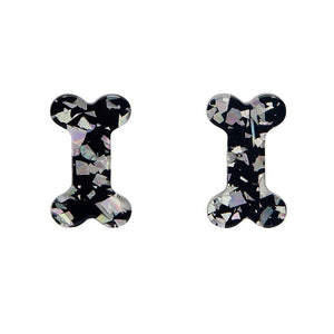 Bones Chunky Glitter Resin Stud Earrings - Silver - Rockamilly-Jewellery-Vintage