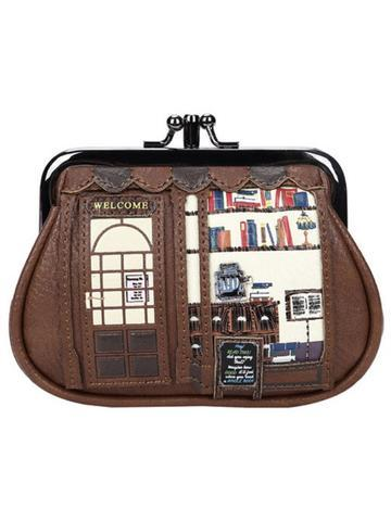 Book Shop Clipper Coin Wallet Coffee Vendula - Rockamilly-Bags & Purses-Vintage