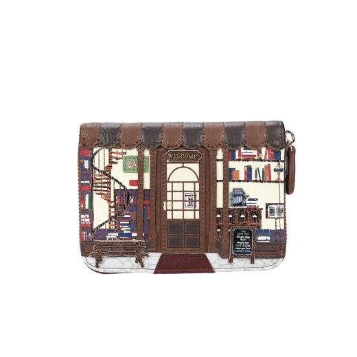 Book Shop Med Zip Around Wallet Coffee Vendula - Rockamilly-Bags & Purses-Vintage