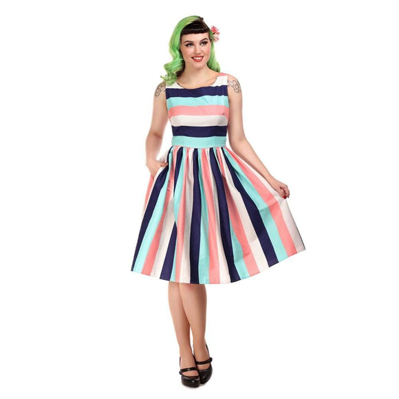 Candice Seaside Stripes Swing Dress Collectif - Rockamilly-Dresses-Vintage