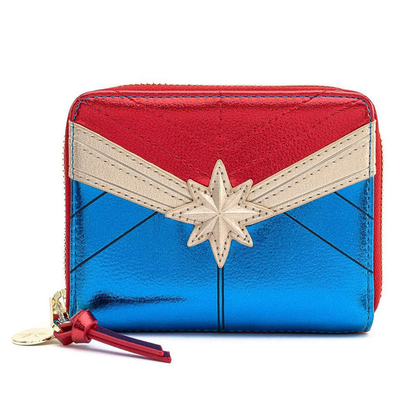 Captain Marvel Classic Cosplay Zip Around Wallet - Rockamilly-Bags & Purses-Vintage