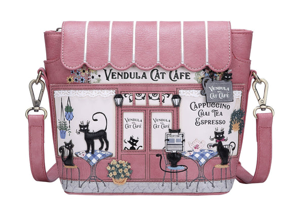 Cat Cafe Cross Body Bag Vendula - Rockamilly-Bags & Purses-Vintage
