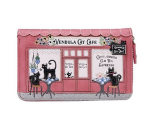 Cat Cafe Medium Ziparound Wallet Vendula - Rockamilly-Bags & Purses-Vintage