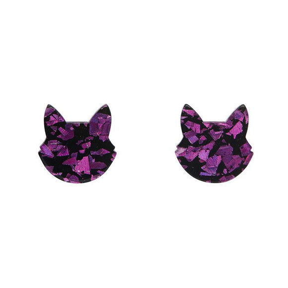 Cat Head Chunky Glitter Stud Earrings - Purple - Rockamilly-Jewellery-Vintage